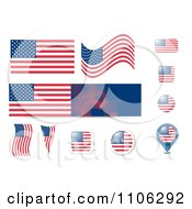 Clipart USA United States American And Button Design Elements Royalty Free Vector Illustration