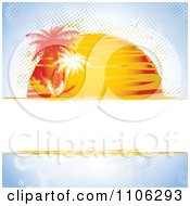 Grungy Halftone Summer Background With The Sun Setting On Blue With Palm Trees And Text Space