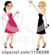 Happy Toasting Ladies In Black And Pink Dresses
