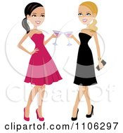 Clipart Happy Brunette And Blond Women Toasting Royalty Free Vector Illustration