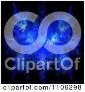 Clipart Blue Fractal Leafy Texture On Black Royalty Free Illustration