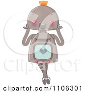 Clipart Happy Robot In Love With A Heart On Her Screen Royalty Free Vector Illustration