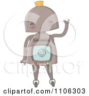 Clipart Happy Robot Waving Royalty Free Vector Illustration