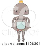 Clipart Robot With A Blank Screen Royalty Free Vector Illustration by Melisende Vector