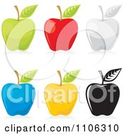Clipart Green Red Gray Blue Yellow And Black And White Apple Icons Royalty Free Vector Illustration