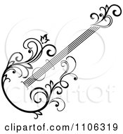 Clipart Black And White Floral Guitar 2 Royalty Free Vector Illustration