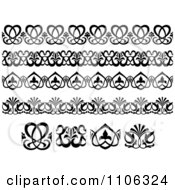 Clipart Black And White Victorian Floral Borders And Design Elements 1 Royalty Free Vector Illustration