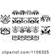 Clipart Black And White Victorian Floral Borders And Design Elements 2 Royalty Free Vector Illustration