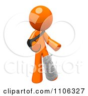 Clipart 3d Orange Man With An Arm Sling And Leg Cast Royalty Free CGI Illustration