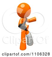 Clipart 3d Orange Man Wearing An Arm Sling And Leg Cast Royalty Free CGI Illustration