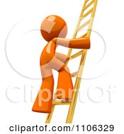 3d Orange Man Climbing A Golden Ladder