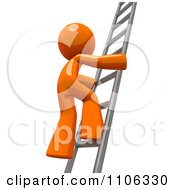 Poster, Art Print Of 3d Orange Man Climbing A Silver Ladder