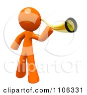 Clipart 3d Orange Man Using An Ear Trumpet Royalty Free CGI Illustration