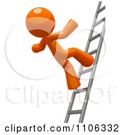 Poster, Art Print Of 3d Orange Man Falling From A Ladder