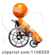 3d Orange Man Recovering In A Wheel Chair