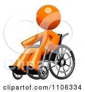 Poster, Art Print Of 3d Orange Man In A Wheel Chair