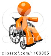 Clipart 3d Orange Man Pointing In A Wheel Chair Royalty Free CGI Illustration by Leo Blanchette