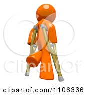 Clipart 3d Orange Man Using Crutches 1 Royalty Free CGI Illustration