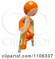 Clipart 3d Orange Man Using Crutches 2 Royalty Free CGI Illustration