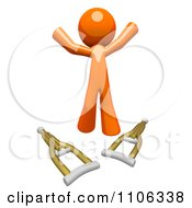 Clipart 3d Healed Orange Man Jumping Over Crutches Royalty Free CGI Illustration
