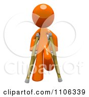 Clipart 3d Orange Man Using Crutches 3 Royalty Free CGI Illustration