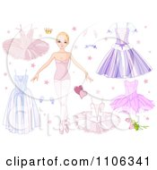 Clipart Blond Ballerina Dancer With Dresses And Tutus Royalty Free Vector Illustration by Pushkin