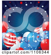 Blue Ray American Background With Stars And Patriotic Party Balloons