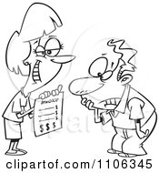 Clipart Outlined Grinning Woman Presenting Her Client With A Billing Invoice Royalty Free Vector Illustration