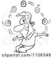 Clipart Outlined Man Juggling Donuts On Doughnut Day Royalty Free Vector Illustration