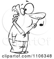 Clipart Outlined Man Whistling While He Waits Royalty Free Vector Illustration by toonaday