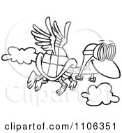 Clipart Outlined Tortoise Flying With Pilot Goggles Royalty Free Vector Illustration by toonaday