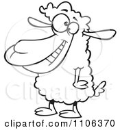 Clipart Outlined Happy Sheep Royalty Free Vector Illustration by toonaday