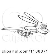 Clipart Outlined Rabbit Flying With A Rocket Jet Pack Royalty Free Vector Illustration