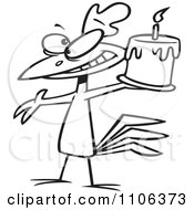 Clipart Outlined Happy Chicken Holding A Birthday Cake Royalty Free Vector Illustration by toonaday