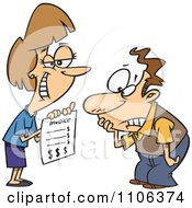 Clipart Grinning Woman Presenting Her Client With A Billing Invoice Royalty Free Vector Illustration by Ron Leishman