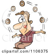 Clipart Man Juggling Donuts On Doughnut Day Royalty Free Vector Illustration