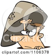 Clipart Sheltered Man Emerging From Under A Rock Royalty Free Vector Illustration
