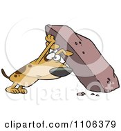 Clipart Treasure Hunting Dog Looking Under A Rock Royalty Free Vector Illustration