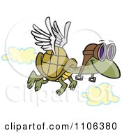 Clipart Tortoise Flying With Pilot Goggles Royalty Free Vector Illustration by toonaday