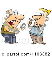 Clipart Techie Men Having A Debate Over Gadgets Royalty Free Vector Illustration