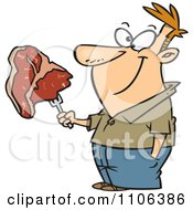 Clipart Happy Man Holding A Steak On A Fork Royalty Free Vector Illustration