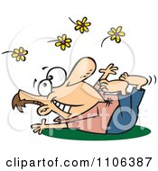 Clipart Spring Fling Man Playing In Flowers Royalty Free Vector Illustration