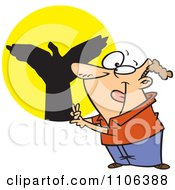 Clipart Man Making Shadow Puppets Royalty Free Vector Illustration