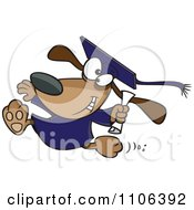Clipart Happy Graduate Dog Running With A Diploma Royalty Free Vector Illustration