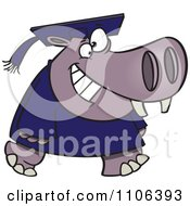 Clipart Graduate Hippo Walking And Smiling Royalty Free Vector Illustration by toonaday
