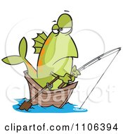 Clipart Fish Fishing From A Boat Royalty Free Vector Illustration by toonaday