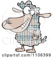 Clipart Happy Plaid Sheep Royalty Free Vector Illustration