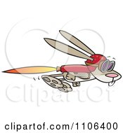 Clipart Rabbit Flying With A Rocket Jet Pack Royalty Free Vector Illustration by Ron Leishman