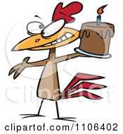 Clipart Happy Chicken Holding A Birthday Cake Royalty Free Vector Illustration