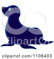 Clipart Cute Blue Sea Lion Royalty Free Vector Illustration